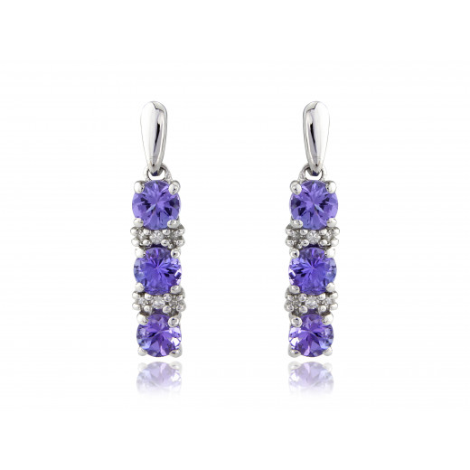 9ct White Gold Diamond & Tanzanite Earrings