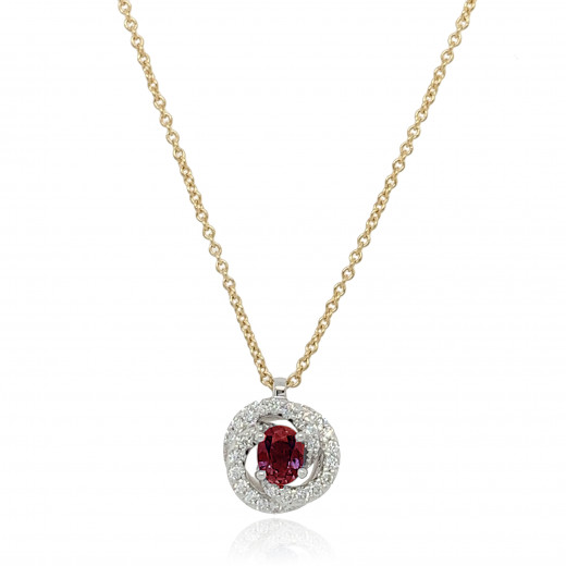 18ct Yellow and White Diamond With Ruby Twirl Pendant Necklace
