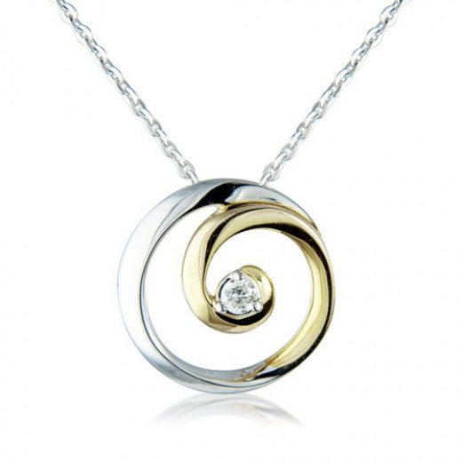9ct Yellow And White Gold Diamond Swirl Pendant Necklace