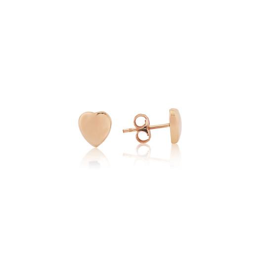 9ct Rose Gold Heart Stud Earrings