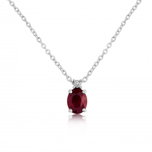 9ct White Gold Diamond & Oval Ruby Pendant Necklace