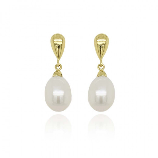 9ct Yellow Gold Culture Pearl Teardrop Earrings
