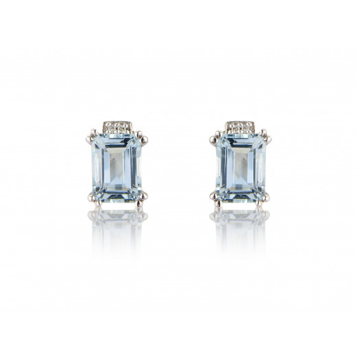 9ct White Gold Diamond & Aquamarine Earrings