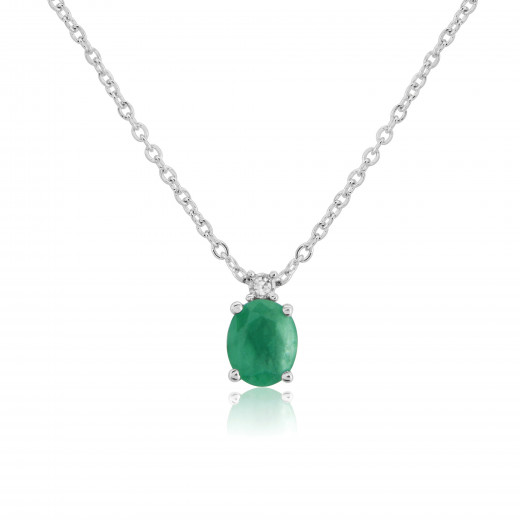 9ct White Gold Emerald & Diamond Pendant Necklace
