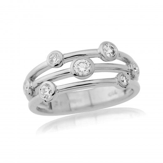 18ct White Gold Diamond Cascade Ring