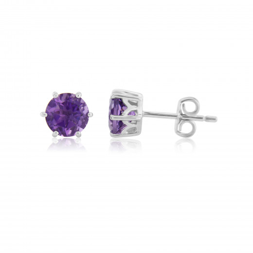9ct White Gold Amethyst Stud Earrings