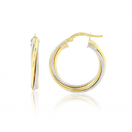 9ct Yellow & White Textured Twist Hoop Earrings