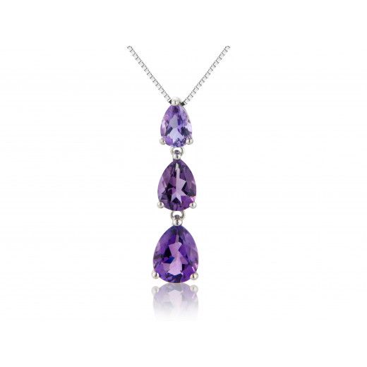 9ct White Gold Amethyst Drop Pendant Necklace