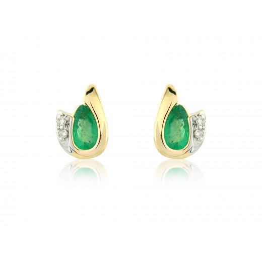 9ct Yellow Gold Emerald & Diamond Curl Earrings