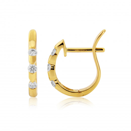 18ct Yellow Gold Diamond Notch Earrings