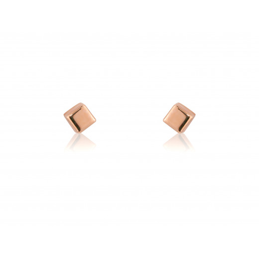 9ct Small Rose Gold Cube Stud Earrings