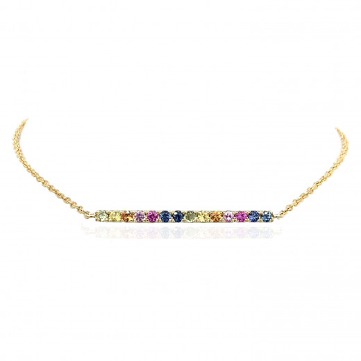 9ct Yellow Gold Multi-Coloured Sapphire Bar Bracelet