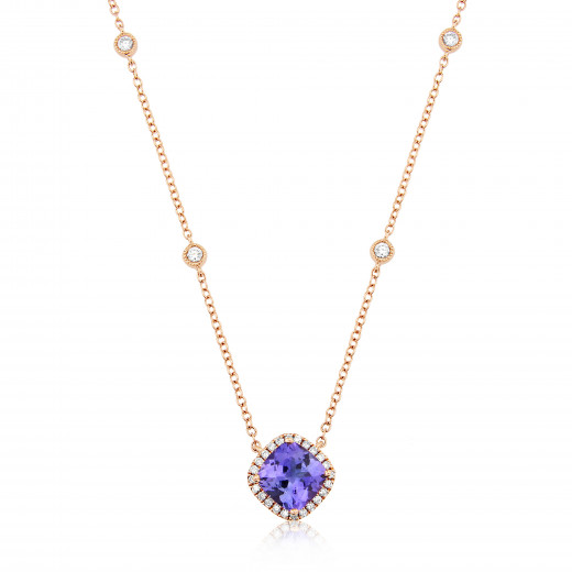 9ct Rose Gold Diamond & Tanzanite Pendant Necklace