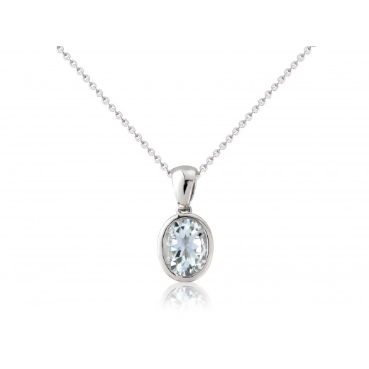 9ct White Gold Aquamarine Oval Pendant Necklace
