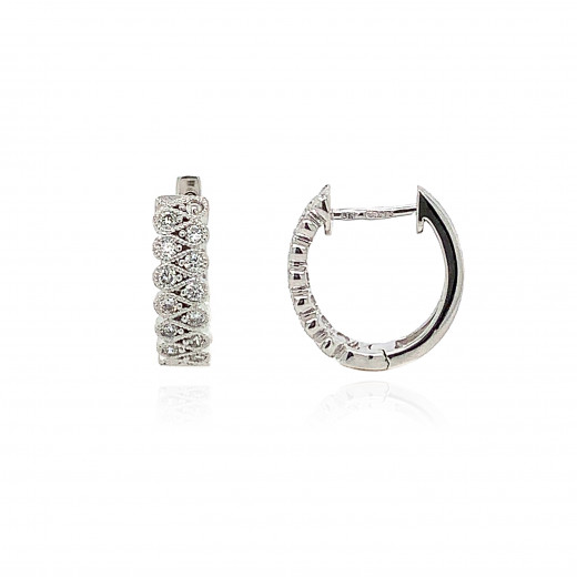 18ct White Gold Millgrain Diamond Earring
