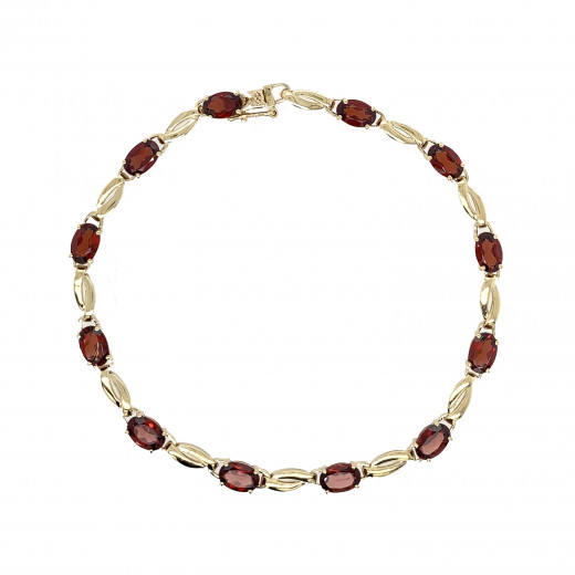 9ct Yellow Gold Garnet Bracelet