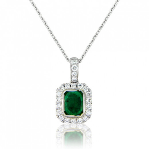 e pendant emerald genuine w silver necklace ct sterling diamond t ss