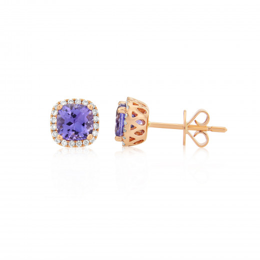 9ct Rose Gold Diamond & Tanzanite Earrings