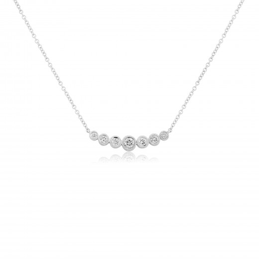 18ct White Gold Diamond Graduating Necklace