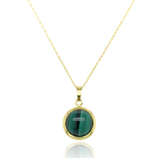 9ct Yellow Gold Domed Malachite Pendant Necklace