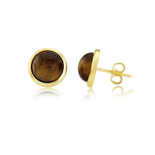 9ct Yellow Gold Tigers Eye Stud Earrings