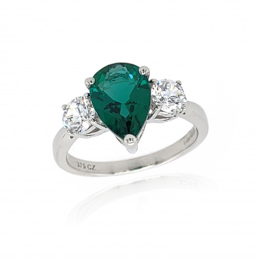 9ct White Gold Cubic Zirconia & Created Emerald Ring