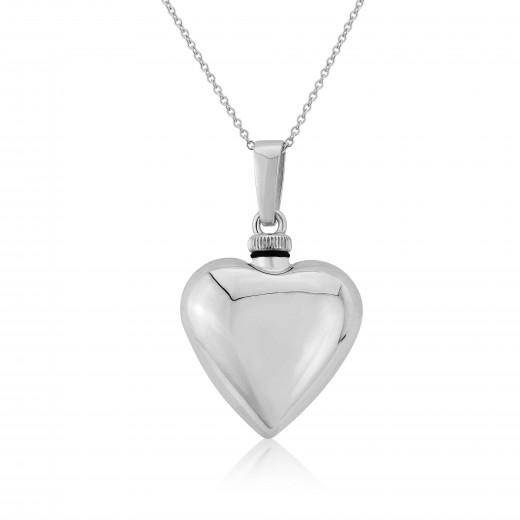 Silver Puff Heart Bottle Pendant Necklace