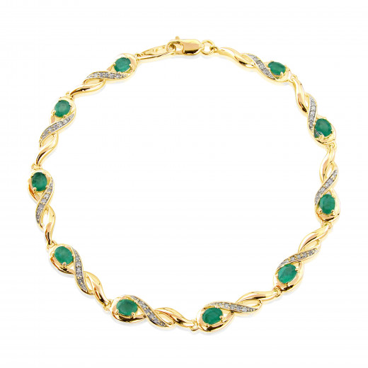 9ct Yellow Gold Diamond Oval Emerald Bracelet