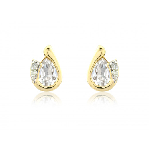 9ct Yellow Gold White Topaz & Diamond Curl Earrings