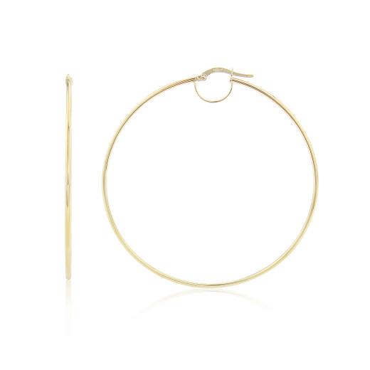 9ct Yellow Gold Large Plain Hoop Earrings
