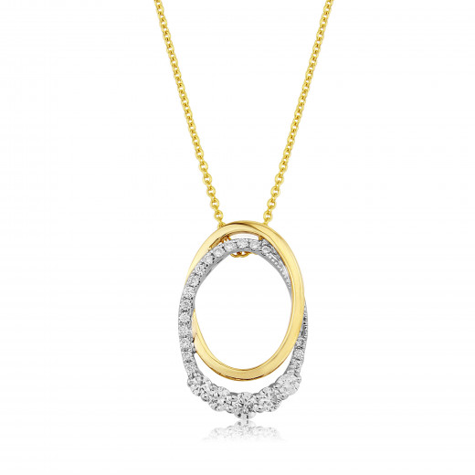 9ct Yellow & White Gold Diamond Oval Pendant Necklace