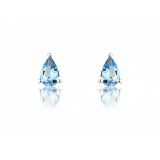 9ct White Gold Pear Aquamarine Earrings