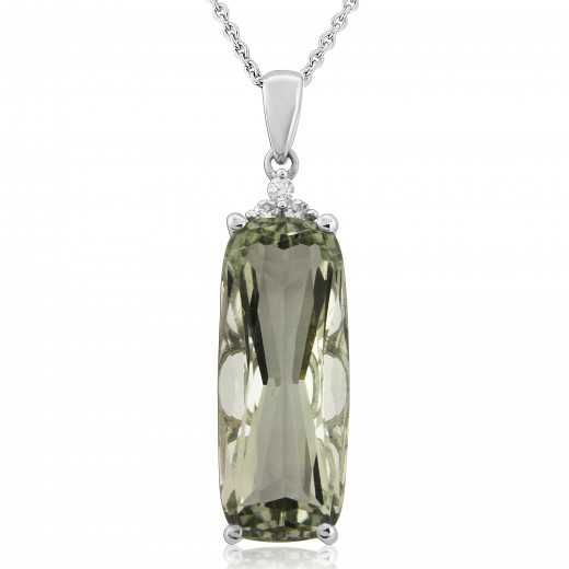 9ct white gold diamond green amethyst pendant necklace aloadofball Image collections