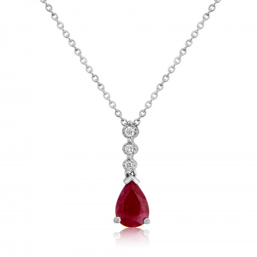 9ct White Gold Ruby & Diamond Drop Pendant Necklace