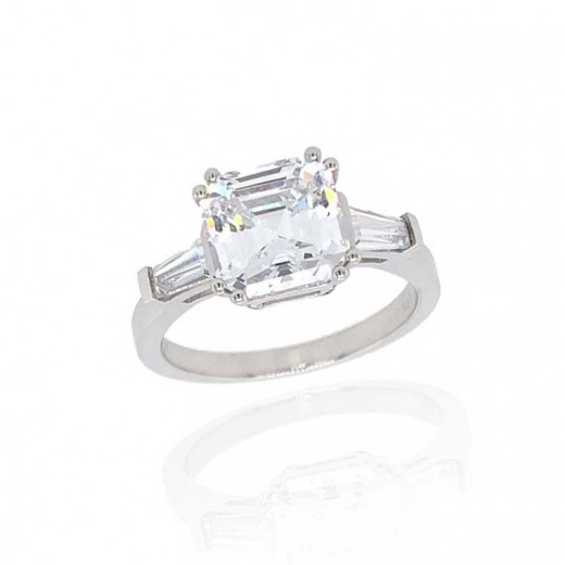 9ct White Gold Cubic Zirconia Asscher and Baguette Cut Ring
