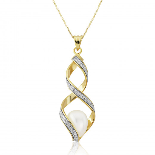 9ct Yellow Gold Glitter Pearl Pendant Necklace