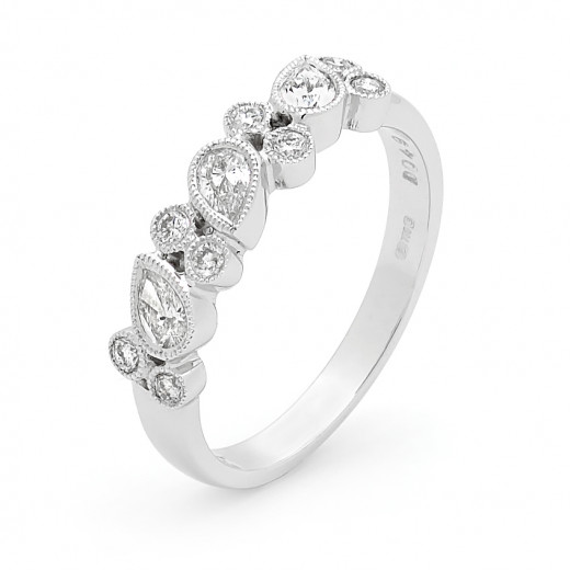 Platinum Diamond Millgrain Ring