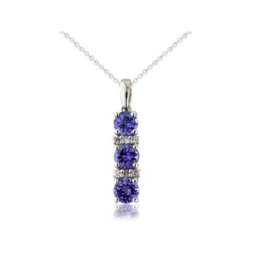 9ct White Gold Diamond & Tanzanite Pendant Necklace