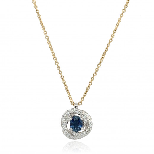 18ct Yellow and White Diamond With Sapphire Twirl Pendant Necklace