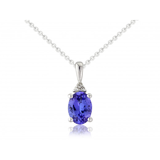 9ct White Gold Diamond & Tanzanite Oval Pendant Necklace