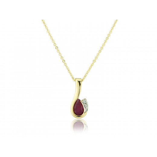 9ct Yellow Gold Ruby & Diamond Curl Pendant Necklace