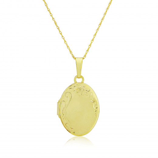 9ct Yellow Gold Hand Engraved Locket