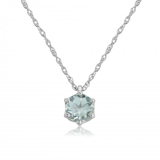 9ct White Gold Aquamarine Pendant Necklace