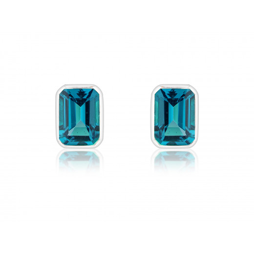 9ct White Gold Octagonal London Blue Topaz Earrings