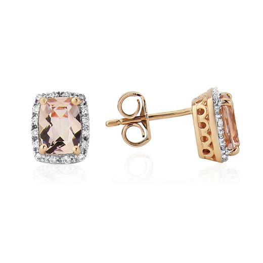 9ct Rose Gold Diamond & Morganite Earrings