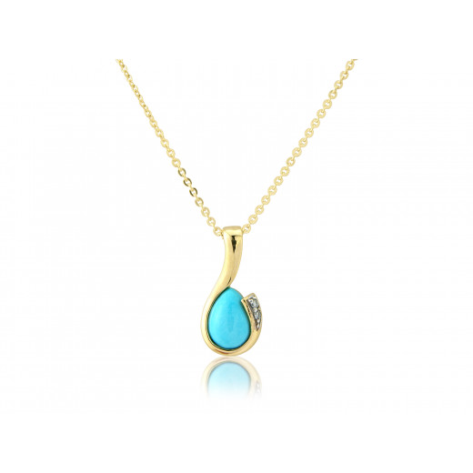 9ct Yellow Gold Turquoise & Diamond Curl Pendant Necklace