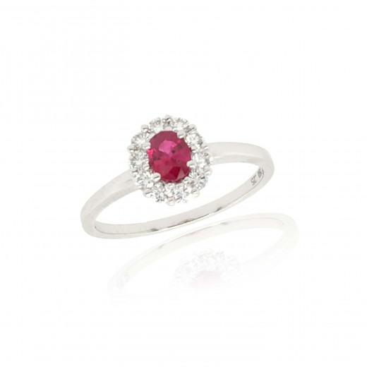 18ct White Gold Diamond and Ruby Cluster Ring