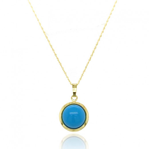 9ct Yellow Gold Domed Turquoise Pendant Necklace