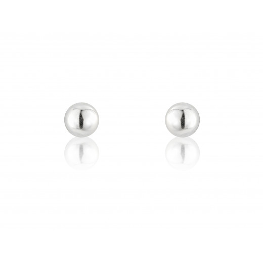 9ct White Gold Small Plain Gold Ball Studs Earrings