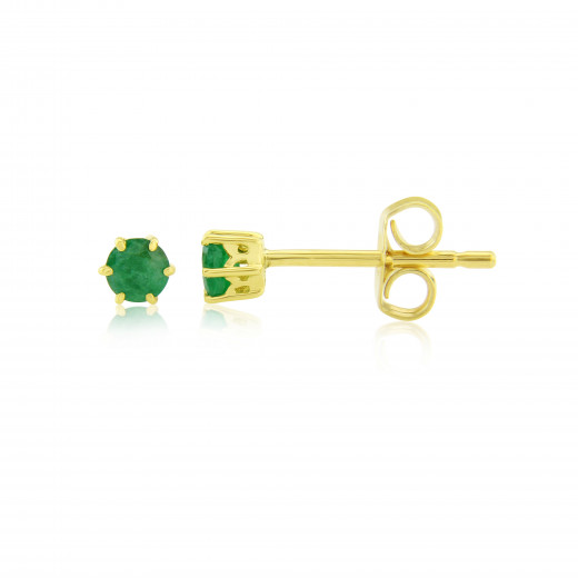 9ct Yellow Gold Emerald Stud Earrings